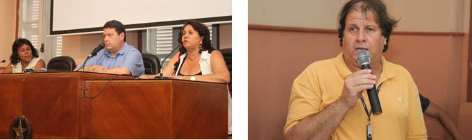 O Coordenador de Operações e Manutenção da COPANOR - Maurílio Moreira, conduziu a audiência pública (dir), e à esquerda, representando o Município, a vereadora Mila, o secretário de Saúde, Fernando Barbosa, e a secretária municipal de Meio Ambiente, Sônia Neiva