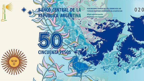 Nova nota de 50 pesos passará a circular em março na Argentina com o mapa das Ilhas Malvinas (Divulgação)