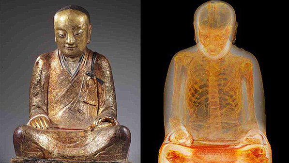 Antes da tomografia, os cientistas do Drents sabiam que havia um corpo dentro da estátua, mas o procedimento revelou que os órgãos de Liuquan foram retirados e substituídos por pedaços de papel com escritos em chinês