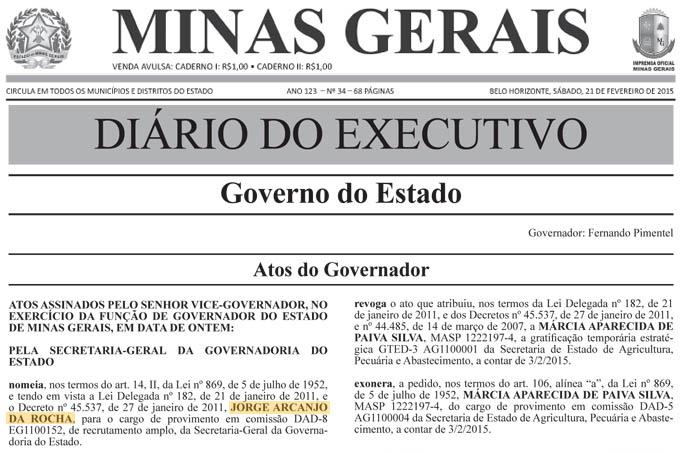 Cópia fac símile da nomeação de Jorge Arcanjo no Diário Oficial do Estado