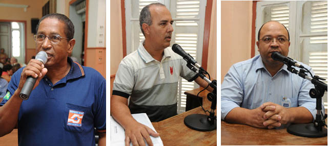 Ernani Batista (Defesa Civil), engenheiro Élber Antunes, e o eng. Aldo Diniz (Copasa)