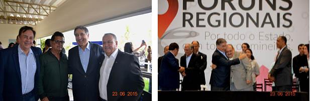 O governador Pimentel posa, à direita, com o prefeito Getúlio Neiva e o presidente da Câmara, vereador Northon Neiva. À direita abraça o seu grande amigo pessoal, o vereador e médico Dr. Samir (fotos: Paraíba)