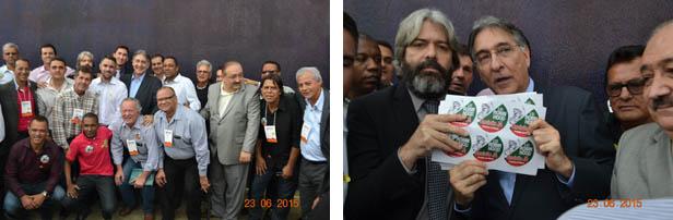 O governador Pimentel posa com prefeitos e outras lideranças regionais (à esquerda), e à direita recebe das mãos do prefeito Dr. Branco, de Fronteira dos Vales, um manifesto em favor da revisão da Lei Robin Hood