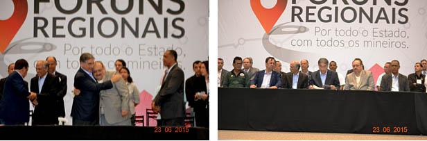 Na foto à esquerda o governador Pimentel abraça o amigo Dr. Samir, com quem adentrou ao recinto. À esquerda o Dr. Samir é estrategicamente posicionado ao lado do governador durante todo o programa do Fórum