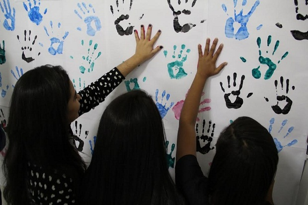 Durante o encontro os alunos tiveram a oportunidade de se expressarem através de diferentes métodos