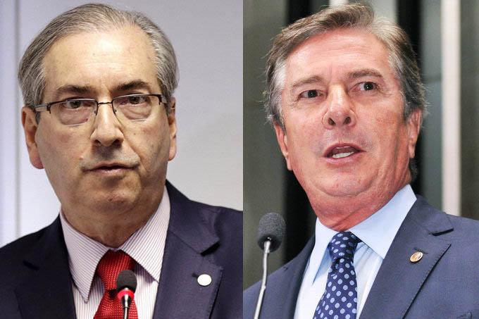 PUXANDO A FILA — O presidente da Câmara dos Deputados, Eduardo Cunha, e o senador Fernando Collor: segundo o MP, eles foram destinatários do propinoduto da Petrobras (Ueslei Marcelino/Reuters/Waldemir Barreto/Ag. Senado)