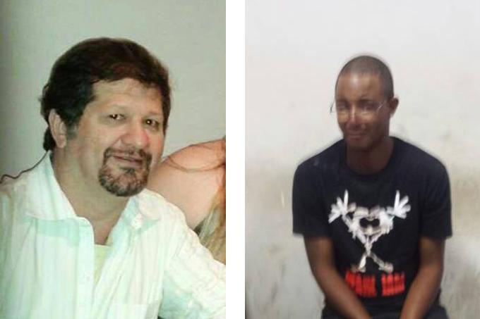 O dentista Olinto Pereira dos Santos (esq) foi brutalmente assassinado com vários golpes de facas desferidos por Antônio Inácio dos Santos (dir), que acusou o dentista de tentar estuprá-lo