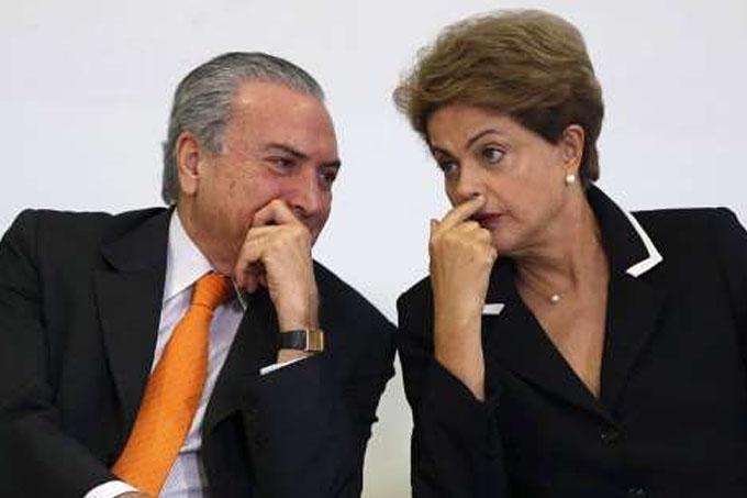Michel e Temer e Dilma Rousseff passarão a dar até beijinhos em público para passar uma imagem de harmona entre eles (foto fornecida por Notícias ao Minuto)