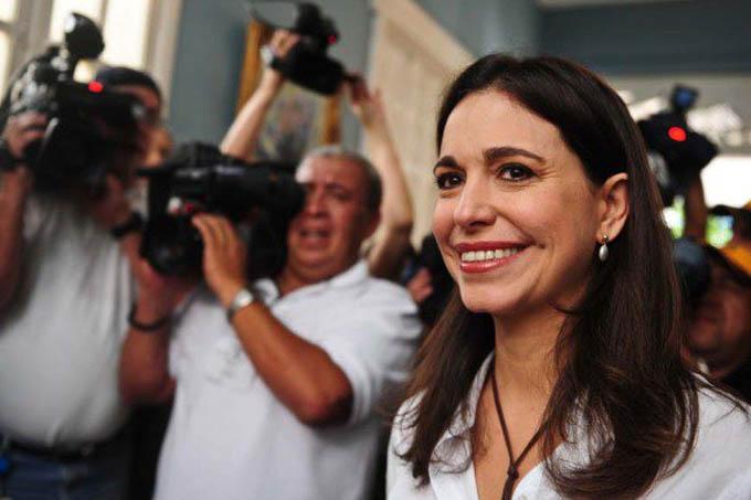 Maria Corina Machado, política venezuelana (Miguel Gutierrez/AFP/VEJA)