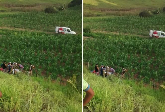 Uma das vítimas foi arremessada em uma ribanceira às margens da estrada – Foto: Enviada por internauta através do WhatsApp do Aconteceu no Vale