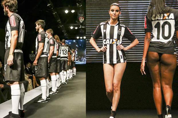 Torcedores reclamaram dos trajes curtos utilizados por modelos durante lançamento do uniforme do Galo (Atlético-MG/Divulgação)