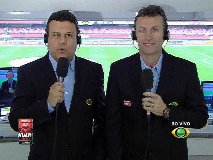 Teo José e Neto durantte uma transmissão da Band no Morumbi (Band/Reprodução)