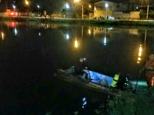 Corpo de homem foi encontrado na Lagoa do Pérola (Foto: Corpo de Bombeiros/Divulgação)