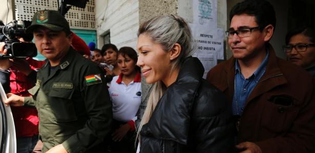 27.fev.2016 - Gabriela Zapata é detida em La Paz, na Bolívia
