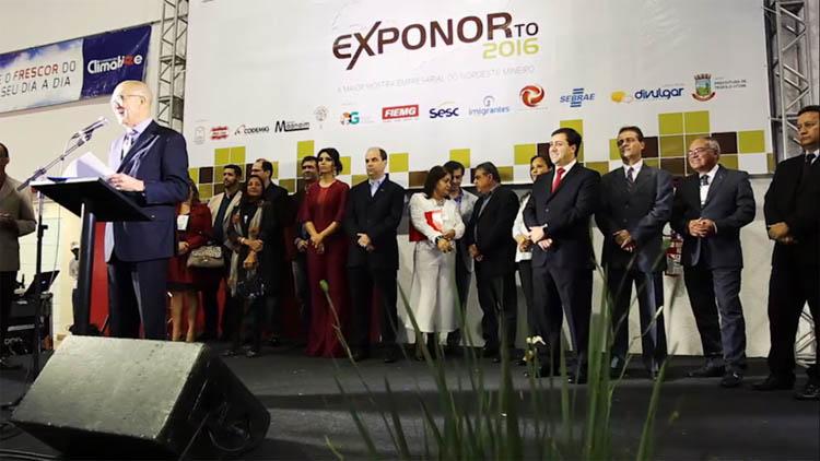 Em seu discurso, o presidente da ACE, Sebastião Ribeiro, contou a história do resgate da EXPONOR