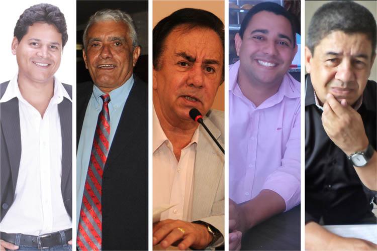 Da esquerda para a direita, e em ordem alfabética, os candidatos à Prefeitura de Teófilo Otoni são: Daniel Sucupira (PT), Edson Soares (PCdoB), Getúlio Neiva (PMDB), Paulo Henrique Coimbra (PR) e Roberto Marcos (PSOL)