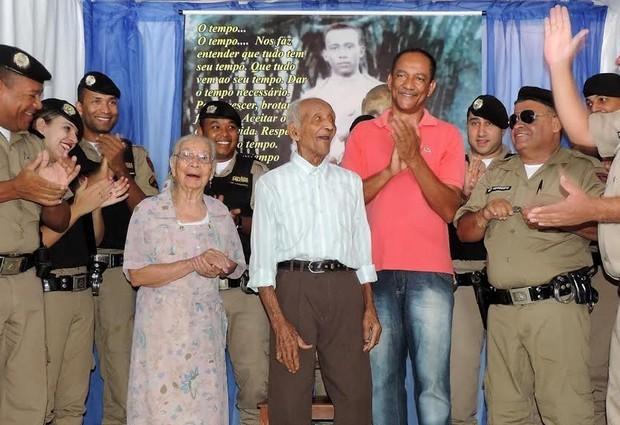 Militar mais antigo de Minas Gerais é homenageado em Manga (Foto: Divulgação/PMMG)