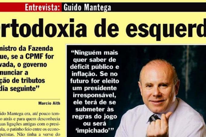 Reprodução da entrevista de Guido Mantega a VEJA em 2007 – e sua declaração profética (Reprodução/VEJA)