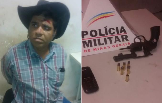 Roque Saldanha e a arma apreendida pela Polícia Militar (Foto: Reprodução)