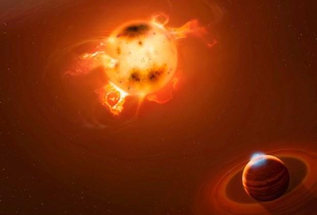 Ilustração de um planeta gigante recém-nascido, como o novo planeta descoberto na vizinhança da estrela jovem muito ativa V830 Tau (Foto: Mark A. Garlick/markgarlick.com)