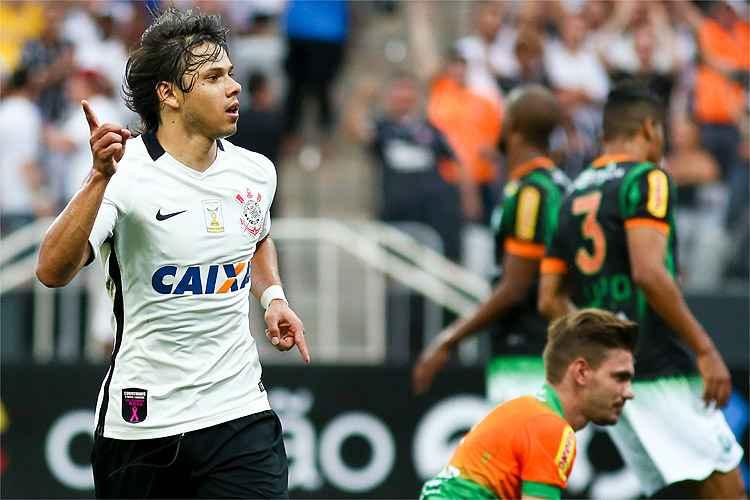 Ángel Romero abriu placar para o Corinthians no triunfo sobre o América no Estádio Itaquerão
