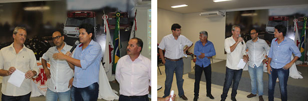 Prefeitos Daniel Sucupira (Teófilo Otoni) e Henrique Scofield (Itambacuri) ao microfone (fotos: Release de notícias de Aníbal Gonçalves)