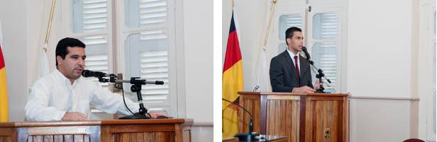 Na tribuna da Câmara, o presidente do Legislativo, vereador Fábio Lemes (dir) e o procurador jurídico Ricardo Coimbra (esq) [fotos: Eduardo Hollerbach/PH Studio]