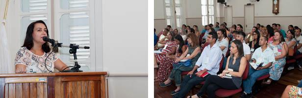 A professora Cristhiane Leão, administradora especialista em Gestão de Pessoas (dir) ministra palestra para o público presente ao curso de capacitação (fotos: Eduardo Hollerbach/PH Studio)