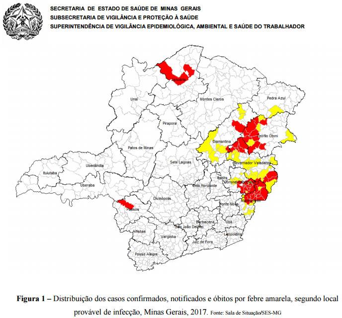 QUADRO dos municipios com febre amarela em MG em 17 02 2017