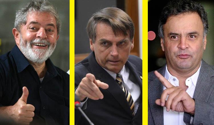 """Lula em primeiro; Bolsonaro em segundo e Aécio em terceiro na espontânea. Eis o quadro que se apresenta para 2018 (créditos das fotos: montagem sobre reprodução de """"onordeste.com"""", """"Wilson Dias/Agência Brasil"""" e """"ceticismopolitico.com"""")"""