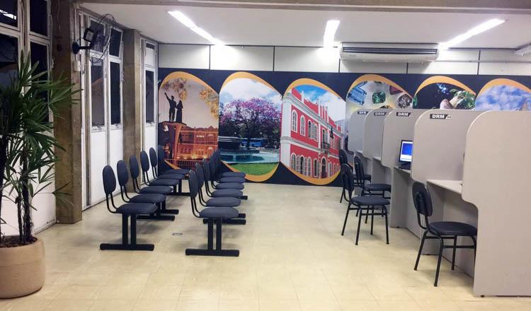 Novas instalações, reformadas, da recepção da Central de Tributos da Prefeitura (foto: ASCOM PMTO)