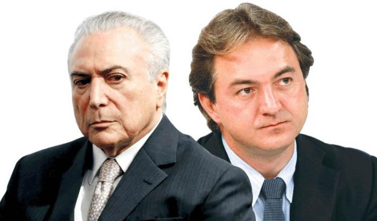 O presidente Michel Temer (esq) foi flagrado em gravação clandestina do empresário Joesley Batista (dir) compactuando com a compra do silêncio do ex-presidente da Câmara, o deputado afastado por corrupção Eduardo Cunha (foto: O GLOBO | Reprodução)
